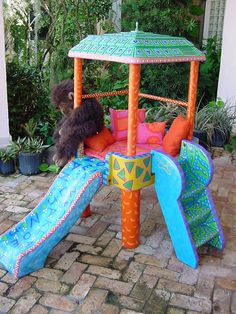 How to make plastic fun! Great idea for hand sun bleached yard play toys. Use oilcloth as fabric for easy cleanup 2nd Hand Furniture, Nursery Furniture, Painting Plastic, Hand Painting Art, America Furniture, Funky Painted Furniture, Furniture Cleaner, Unique Home Decor, Paint Designs