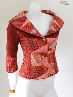 """Retro Style """"Fantastic Fifties"""" Womens Tailored Fitted Patchwork and Faux Chenille Jacket ,Orange and Pink, Geometric Triangle Design Quilted Clothes, Patchwork Dress, Chenille, Tailored Jacket, Quilted Jacket, Refashion, Diy Clothes, Retro Fashion, Blazers"""