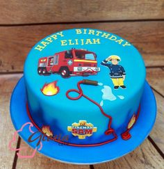 I would put a Marshall Paw Patrol in place of the Fireman Sam character. Then on the base of cake change it to sae Child's name or to say Paw Patrol! Firefighter Birthday Cakes, Thomas Birthday Cakes, Fireman Birthday, Marshall Paw Patrol, Fire Engine Cake, Fireman Sam Cake, Fire Fighter Cake, Lion King Cakes, Paw Patrol Cake