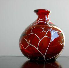 Festive White Tree on Red Glass Vase by MaryElizabethArts $48.00
