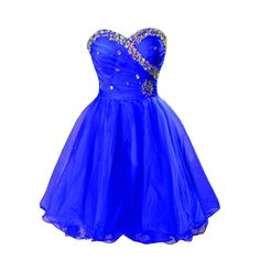 Kivary Crystals Short Organza Knee Length Prom Homecoming Graduation Dresses 2016 Royal Blue US 22W. Fabric is organza, Back is half lace up + half zipper, Sweetheart knee length short ladies formal gowns with crystals and pleats, Available in plus size. This is a custom made dress even if standard size. Please find a soft tape to measure yourself and check size chart, keep tape loose, otherwise it will be too tight or large for you. For custom made size, please message and contact us…
