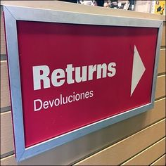 White on red is the livery of this Step This Way To Returns Directional Sign. It points those who have merchandise to be processed to the service counter Service Counter, Directional Signs, Retail, Store, Larger, Shop, Sleeve, Retail Merchandising, Direction Signs