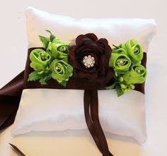 Brown and Green Ring Pillow for Dogs, Brown and Light Green Flowers on White Pillow, Wedding Dog Accessory, Ring Bearer Pillow