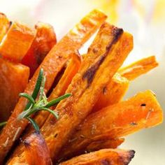 My oven-baked fries are every bit as good as the deep fried kind! Rich in beta-carotene, bright orange sweet potatoes help keep your eyes, skin, and hair vibrant and healthy. And they're rich in soluble fiber, which helps IBS sufferers stay regular.