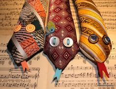 Necktie snakes - ties stuffed and decorated; great on floor at base of a door to block cold air from coming in