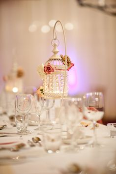 Pretty vintage wedding decor, hanging crystal bird cages