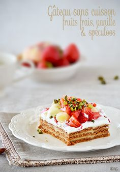 Spécial Canicule ! Un dessert frais et délicieux sans cuisson… parce qu'il fait vraiment trop chaud pour allumer le four. Crepe Cake, Yule Log, French Desserts, Specialty Cakes, Strudel, Waffles, Cheesecake, Strawberry, Baking