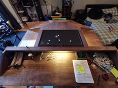 My Dad and I made a DnD table, it got out of hand. Dnd Table, D&d Online, Dungeons And Dragons Dice, Out Of Hand, Surround Sound Systems, Under The Table, Drink Holder, Wizards Of The Coast, Dnd Characters