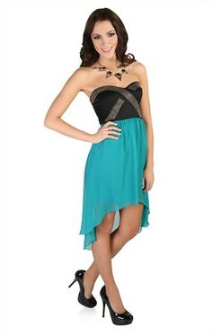 Deb Shops #teal High Low Dress with Gold Criss Cross Detailing and #Contrast Skirt $34.90