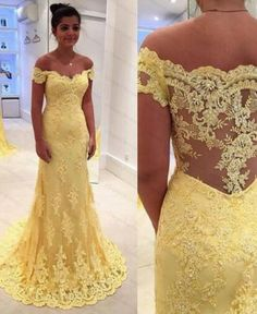 Outlet Distinct Prom Dresses Lace Elegant Mermaid Yellow Lace Off Shoulder Long Prom Dress Prom Dress, Prom Dresses Lace, Prom Dresses Yellow, Long Prom Dresses, Mermaid Prom Dresses Prom Dresses 2019 Evening Party Gowns, Lace Evening Dresses, Chiffon Dresses, Sleeve Dresses, Tulle Prom Dress, Mermaid Prom Dresses, Lace Dress, Mom Dress, Sheer Dress