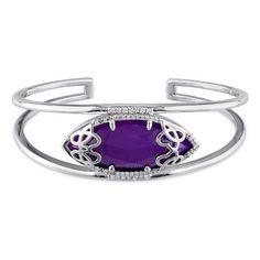 Julianna B 1/3 CT Diamond TW And Purple chalcedony Bangle ($770) ❤ liked on Polyvore featuring jewelry, bracelets, silver, diamond bangle bracelet, hinged bangle, chalcedony jewelry, bangle bracelet and diamond bangle