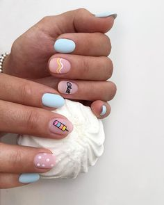 Whoever said nail art requires longer nails has never tried this trendy art on short nails. If you browse online, you'll be bombarded with an array of nail art designs in no time. Cute Summer Nail Designs, Cute Summer Nails, Short Nail Designs, Simple Nail Designs, Nail Art Designs, Cute Simple Nails, Cute Nails, Manicure E Pedicure, Dream Nails