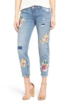 One Teaspoon Freebirds Orchid Print Crop Jeans available at #Nordstrom