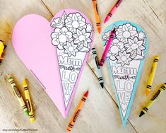 INSTANT DOWNLOAD Mother's Day flower bouquet heart shaped Card Coloring page. This would be great for a mother's day classroom activity for young kids by KudzuMonster