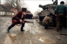 Old Chechen man joins the rebels to fight against invading Russian army. (1990's)   War in Chechnya
