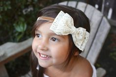 Vintage Lace double bow headband for baby and girl by CoCoPiccolo, $14.99