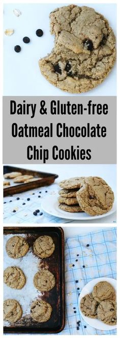 Oatmeal Chocolate Chip Cookies (Gluten, Dairy, Soy, Peanut, and Tree Nut Free) Cookie Recipes, Dessert Recipes, Vegan Desserts, Delicious Desserts, Lunch Recipes, Dairy Free Cookies, Gluten Free Oatmeal, Oatmeal Chocolate Chip Cookies, Chocolate Chips