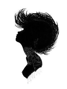 Charmaine Olivia 'Obsidian' Silhouette Print Available Alberto Giacometti, Pearl Jam, Illustrations, Illustration Art, Portraits, Silhouette Art, Electronic Art, Find Art, Framed Artwork