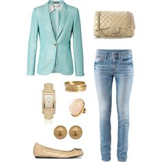 """""""Tiffany Blue Blazer"""" by nmille50 on Polyvore"""