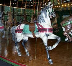 The 1921 Dentzel Carousel at Faust County Park in Chesterfield, MO.  Dentzel Outside Row Stander.