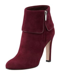 Suede Side-Zip Cuff Bootie by Gianvito Rossi at Bergdorf Goodman.
