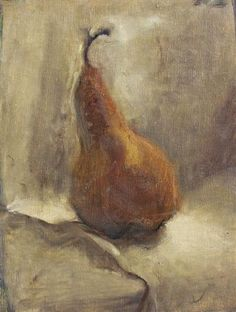 "Beautifully painted small oil on linen ""Golden Pear"" by Sara Sisun 10""x8"" 425 dollars UGallery.com"