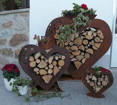 Edelrost Herzstab auf Platte Tischdekoration Gartendeko