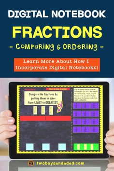 Incorporating digital notebooks for math practice for fractions is an effective way for students to practice using digital tools similar to online testing. The Google Slides templates in this digital interactive notebook provide appropriate grade level practice with the Common Core Standards for Math. Students will practice comparing fractions. Discover and learn more about how to incorporate digital notebooks. #twoboysandadad #chromebook #ipad #digitalnotebook #googledrive #math… Comparing Fractions, Teaching Fractions, Teaching Math, Teaching Resources, Teaching Ideas, Social Studies Notebook, Teaching Social Studies, Teaching History, History Education