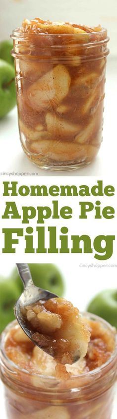 Pie Filling Homemade Apple Pie Filling - Great for pies, crisps, cookies and more! So much better than store bought.Homemade Apple Pie Filling - Great for pies, crisps, cookies and more! So much better than store bought. Apple Pie Recipes, Sweet Recipes, Fall Recipes, Fruit Recipes, Köstliche Desserts, Delicious Desserts, Yummy Food, Homemade Desserts, Easy Apple Desserts