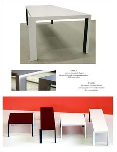 SPACE. Tavolo: varie misure e forme; in multistrato rivestito in laminato; diverse colorazioni.  Table: various sizes and shapes; plywood covered with powder-coating; different colors