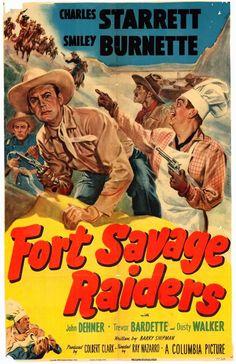 FORT SAVAGE RAIDERS - Charles Starrett & Smiley Burnette - Columbia Pictures - Movie Poster.