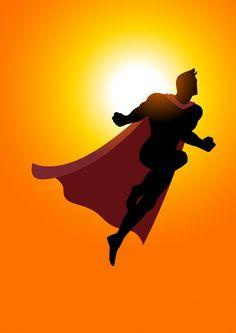 Superhero flying at sunrise Premium Vector Superman Silhouette, Silhouette Art, Cartoon Boy, Cartoon People, Vintage Comic Books, Vintage Comics, People Fly, Comic Book Panels, Superhero Characters