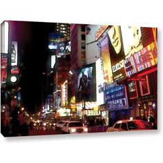 Linda Parker Nyc Bright Lights Broadway Gallery-Wrapped Canvas, Size: 18 x 24, Black