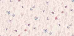 Butterfly Meadow (W6061/03) - Osborne & Little Wallpapers - A charming design by Quentin Blake - pretty butterflies in pink, purple and blue fluttering across a spring meadow in a delicate lilac shade. Additional colourways and co-ordinating fabric also available. Please request sample for true colour match.