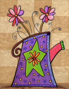 PURPLE VASE 8.5 x 11 Original Markers Drawing by TheArtisanBucket