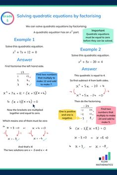 Solving quadratic equations by factorising summary. Add this pin to your board to help revise Gcse Maths Revision, Circle Math, College Math, Algebra Worksheets, Math Charts, Math Notes, Math Formulas, Math Help, Math For Kids
