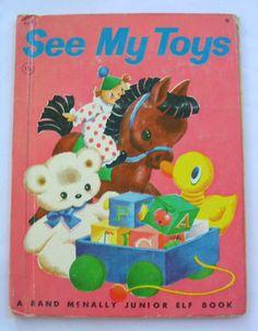 'See My Toys', Vintage Junior Elf Book 1964, illustrated by Tony Brice, via Etsy.