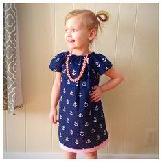 Anchor dress- Girls peasant dress- Toddler anchor dress- girls' clohes- girls navy dress- toddler summer dress- girls summer dress