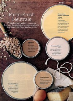 Paint Color Palette – Farm-Fresh Neuatral From buttery yellow to rustic brown, these pastoral hues walk the line in between color and neutral. Paint Colors: … LIKE CRACKED WHEAT Wall Colors, House Colors, Colours, Yellow Paint Colors, Neutral Colors, Rustic Paint Colors, Brown Paint Colors, Pink Color, Decoration Entree