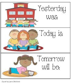 Calendar Cards For: Yesterday, Today and Tomorrow