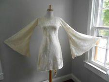 VTG 70s Sheer CUT OUT COTTON Hippie Cream Crochet LACE Angel MiNi Wedding DRESS
