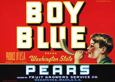 This fruit crate label was used on Boy Blue Pears, c. 1930s: 'Boy Blue Brand Washington State Pears. Packed by Fruit Growers Service Co. Wenatchee, Wash., U.S.A.' Crate labels were a frequent means of