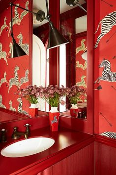 Red Bathroom - Artist owners commissioned Beata Heuman to create a fun, colourful home - real homes on HOUSE by House & Garden