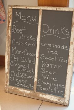 Can get an old window and paint chalk board paint on it, with menu and bar items