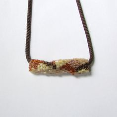Rust Freeform Pendant  Copper Peyote Tube  by playnwithbeads