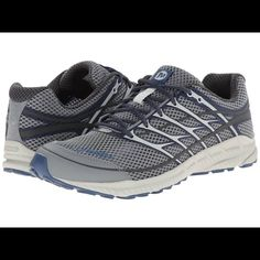 merrell size 8 women's 9.5 mens size 8 so women's size 9 1/2 9.5 grey and blue/navy or as merrell calls it grey/Tahoe/blue.  in very excellent gently used condition as you can see from the pics.  super light weight right now the cheapest you  can buy them online is 100 bucks get them here for less then half Merrell Shoes Athletic Shoes
