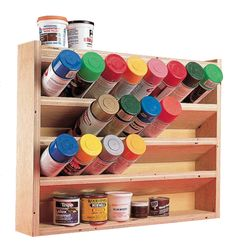 Spray Can Storage - The Woodworker's Store - American Woodworker. See more by checking out the photo Spray Can Storage - The Woodworker's Store - American Woodworker. See more by checking out the photo Workshop Storage, Workshop Organization, Garage Workshop, Garage Organization, Organization Ideas, Woodworking Organization, Small Shed Workshop Ideas, Small Garage Ideas, Workshop Plans