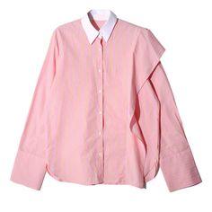 [soonyour] 2017 new spring Stripe Long Sleeve lapel Lotus Leaf Edge Split Joint loose blue shirt women fashion tide J09505