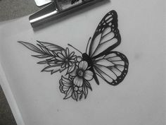 Butterfly sketch, butterfly on flower tattoo, butterfly shoulder tattoo, realistic butterfly tattoo, Butterfly With Flowers Tattoo, Butterfly Sketch, Butterfly Tattoo On Shoulder, Butterfly Tattoo Designs, Shoulder Tattoo, Butterfly Wings, Butterfly Mandala, Butterfly Quotes, Trendy Tattoos