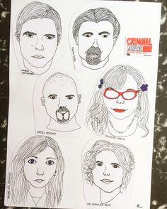 Criminal Minds skatch drawing.  My favorites 💕 Jennifer Jareau, Dr. Spencer Reid, Penelope Garcia, Derek Morgan, David Rossi, Aaron Hotchner.